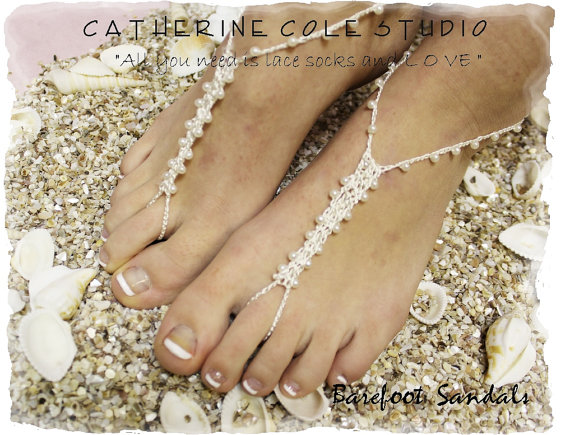 8eaf40a3fcf7 PETITE PEARL cream Barefoot sandals handmade crochet barefoot sandals foot  jewelry beach wedding bridesmaids foot jewelry