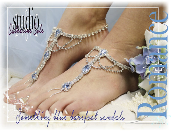 Something blue rhinestone silver barefoot sandals wedding shoes something blue rhinestone silver barefoot sandals wedding shoes bridal bridesmaid beach wedding shoe foot jewelry catherine junglespirit Images