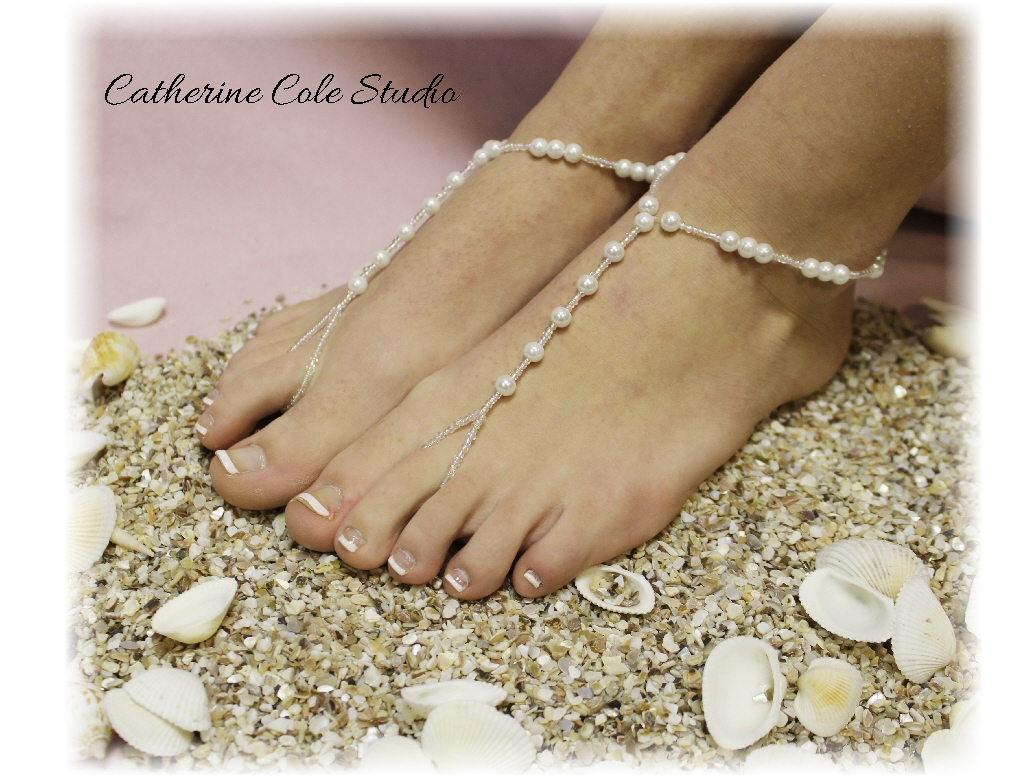 PEARL Bridal Barefoot Sandals Pearl Beading Great For Beach Wedding