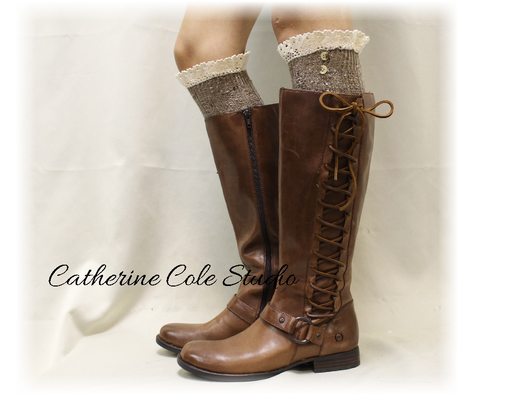 NORDIC WOODS Alpine Brown tweed Lace Boot Socks, Scandinavian sophistication for all boot styles Made in America by Catherine Cole BKS2BL