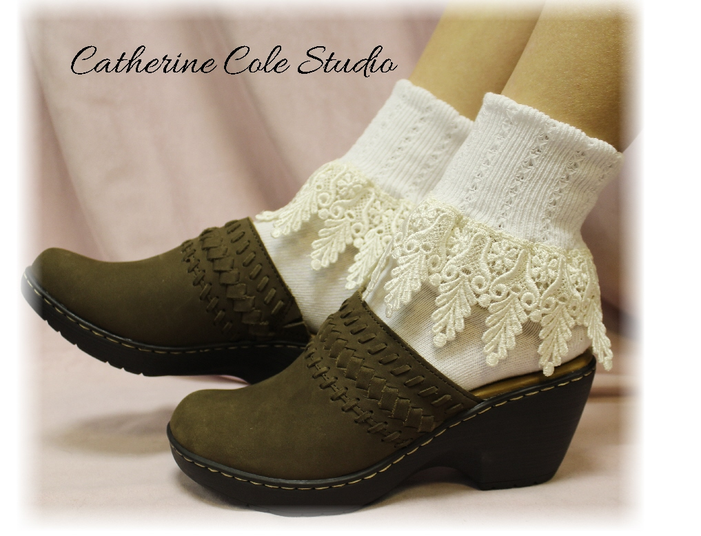 5b06338daf8 My Signature Lace Sock - venise WHITE  IVORY lace cuff sock womens -  Catherine Cole Studio - Victorian lace boot socks Made In U S A (SLC2)From  ...
