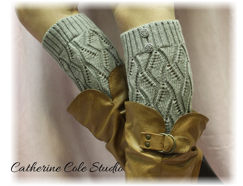 SILVER GREY Open Crochet Knit Leg Warmers LW18 / Womens Knit Pattern ...