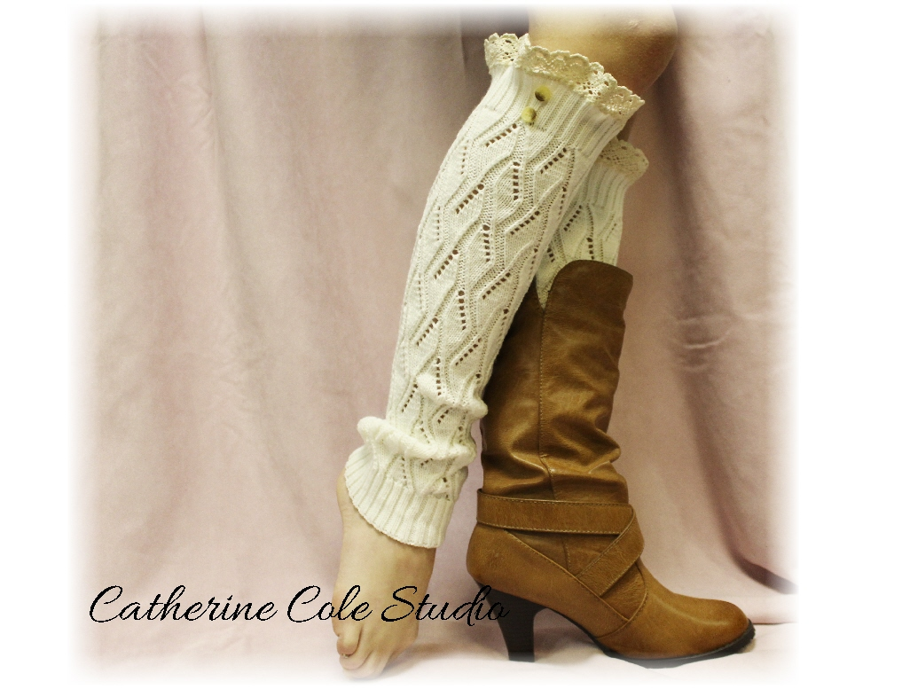 SIMPLY ELEGANT in Dreamy Cream, A classic and stylish lace legwarmers, A Must Have, for all boot styles by Catherine Cole Studio LW21