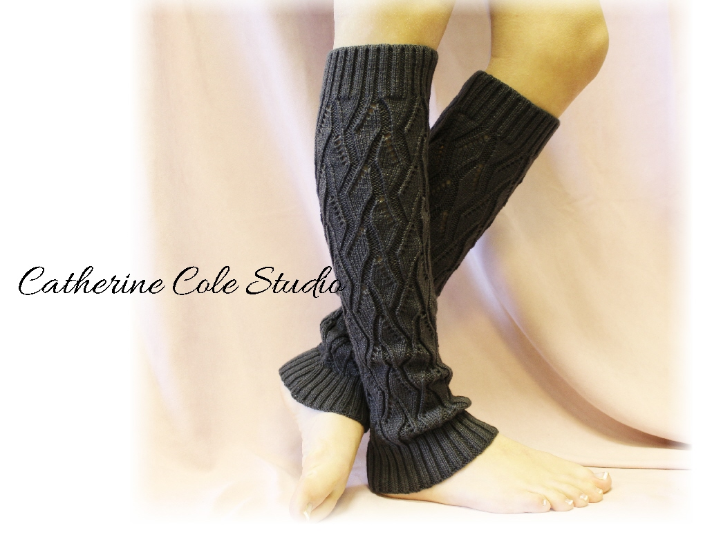 CHARCOAL Basic Open Crochet Knit Leg Warmers / Womens Knit Pattern ...