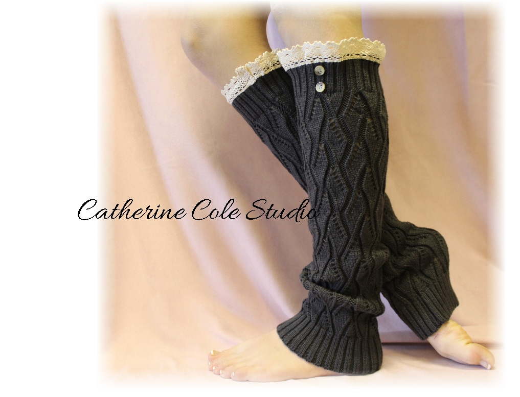 Lace Leg Warmers CHARCOAL Cluny Lace 2 Tortoise Buttons Womens Open ...