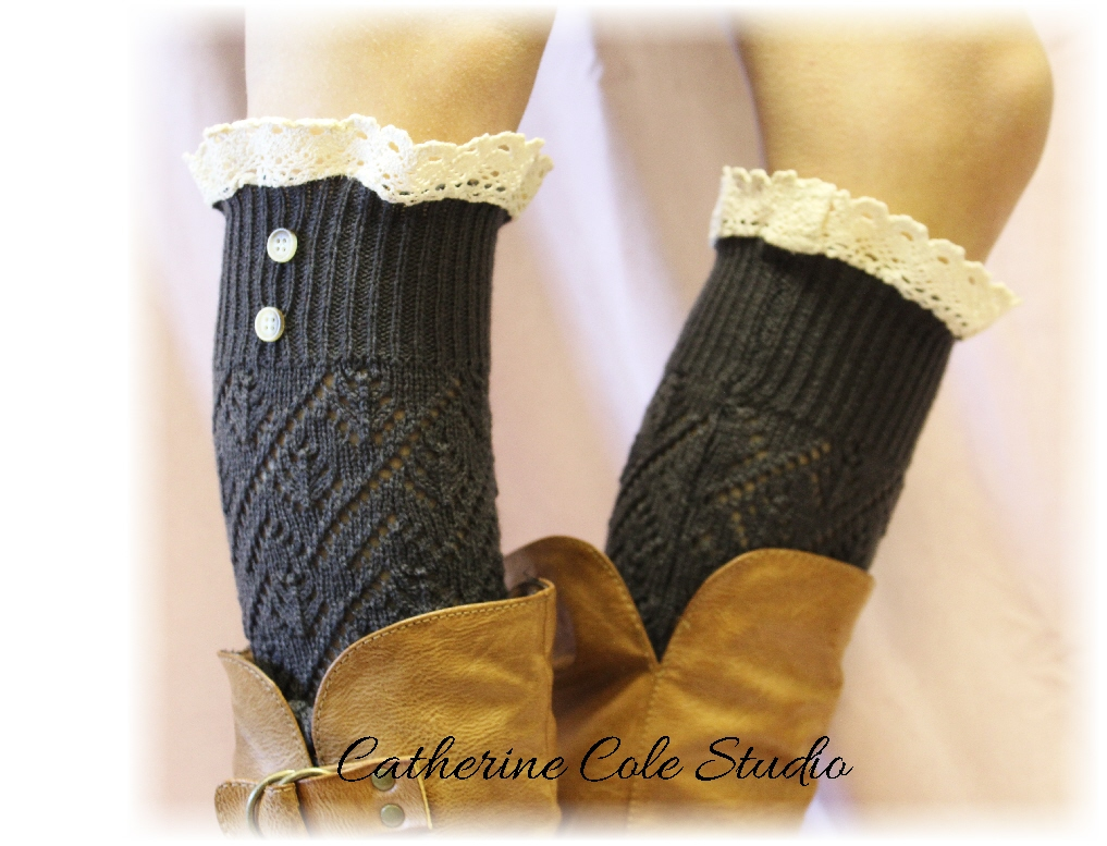 LUXURY and LACE in Charcoal Grey, A delicate and comfy lace legwarmer, a stunning look for your legs and boots by Catherine Cole Studio LW29