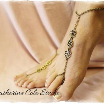 LAVISH LOVE Bronze filigree charm Barefoot sandals 1 pr. for beach weddings beachwear sandals foot jewelry Catherine Cole Studio BF15