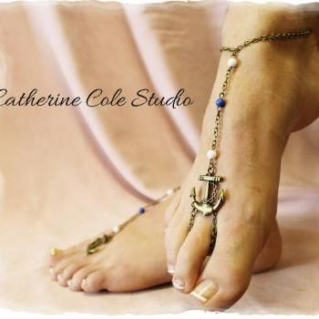 ANCHORS AWAY Bronze anchor and bead Barefoot sandals 1 pr.beach wear foot jewelry Catherine Cole BF14