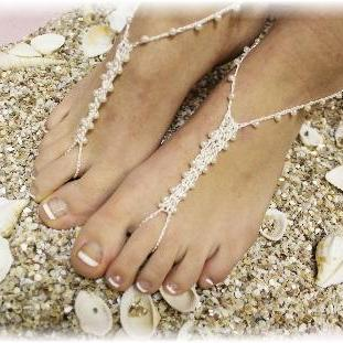 PETITE PEARL 1 pr. handmade crochet Barefoot sandals beachwear pearl beading beach wedding summer sandals foot jewelry Catherine Cole BF4