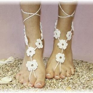 FLORAL FANTASY 1 pr. Barefoot sandals handmade cotton great for beach weddings summer sandals foot jewelry by Catherine Cole Studio BF-1