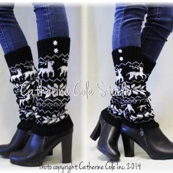 SCANDINAVIAN SKI inspired Black snowflake pattern leg warmers, Perfect compliment for all boots styles by Catherine Cole Studio LW24