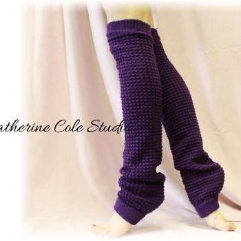 PURPLE Basic Dancer ballerina yoga Extra Long leg warmers womens popcorn texture roomier LW02 by Catherine Cole Studio legwarmersFrom CatherineColeStudio