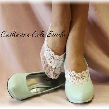 Lace socks for heels white lace great for bridal wedding shoes lace slippers footlets lace peep socks bridesmaids flats Catherine ColeFrom CatherineColeStudio FTL4