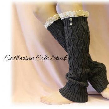 Lace leg warmers CHARCOAL cluny lace 2 tortoise buttons womens open knit pattern great with all boots by Catherine Cole Studio