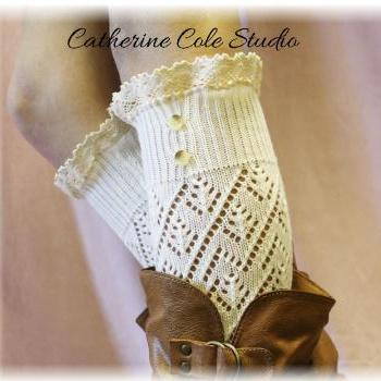 Cream Pointelle lace 2 button legwarmers Catherine Cole Studio LW29