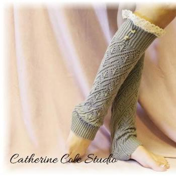 SILVER Pointelle lace 2 button legwarmers Catherine Cole Studio LW29
